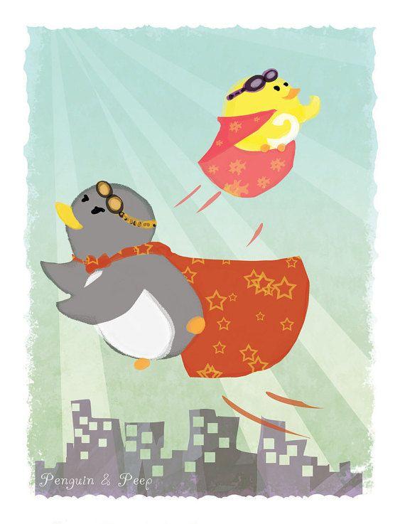 Heroes - Art Print 8 x 10 (Penguin & Peep)
