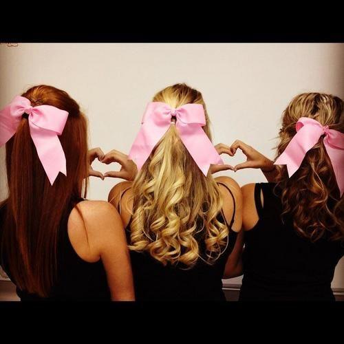 3 pink bows