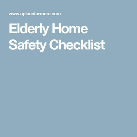 Elderly Home Safety Checklist