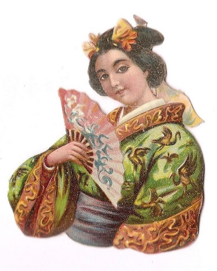 Japon - Geisha Jeune Femme Eventail -  Chromo Decoupi  - Victorian Scrap