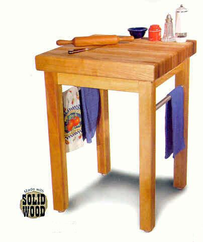 Catskill Craftsmen Country Butcher Block Made by renowned Catskill Craftmen, Inc., this classic butcher block table features a solid 3-inch edge grain domestic hardwood top. Features two stainless ste