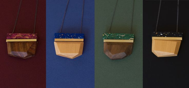 New colours for 2015.  Faset pendants in wood, brass and polymer clay