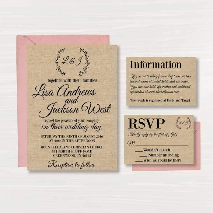 rustic wedding invitation templates uk mini bridal. Black Bedroom Furniture Sets. Home Design Ideas