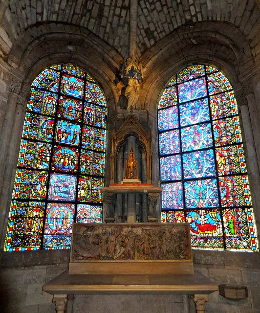 Basilica of St Denis, Paris, France - the axial chapel (behind the main altar) dedicated to the Virgin.