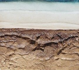Anthony Harris. uses texture as a tool to give feeling to his work betrayed as landscapes.