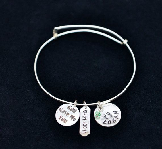 Silver God Gave Me You Adjustable Bangle - Get 10% OFF with coupon code PINIT when purchasing on Etsy