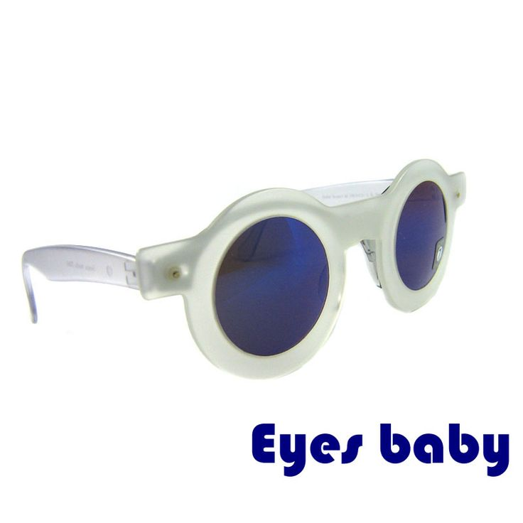 "These round sunglasses are original and were made by Swatch in 1990s. The model ""Baby Eyes"" is simple but elegant. The white-transparent plain frame has rounded lines. The dark blue lenses create a contrast that attracts attention. The glasses are made of high quality acetate. The mask can be removed.  Price: €9.99"