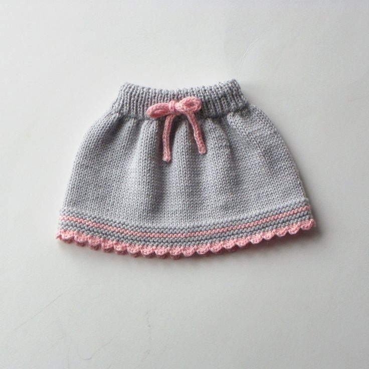 Baby skirt knitted baby skirt merino wool skirt grey and pink