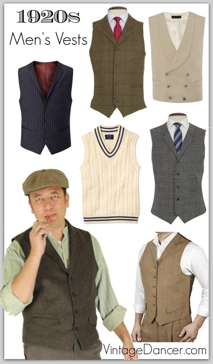 1920s Style Men's Vests, Pullover Vests, Waistcoats