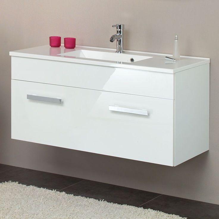 Die besten 25+ Waschbeckenunterschrank weiß hochglanz Ideen auf - badezimmerschrank mit waschbecken