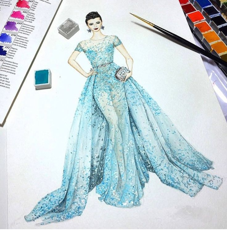 Zuhair Murad-I Love These Water colour illustrations, of fashion design, This illustration, by Zuhair, Murad, is a real master piece, is totally devine, it looks sumptuous, and Zuhair, has a very clear vison, which is easy to see, from his fashion design illustration, I love the varying tones of colours he has used, his skill is amazing.