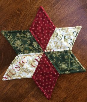 Christmas Quilted Star Candle Mat Red Green and White by seaquilt