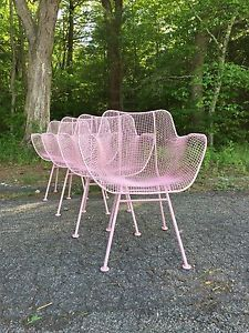 mcm woodard sculptura set of 4 arm chairs table iron mid century salterini patio