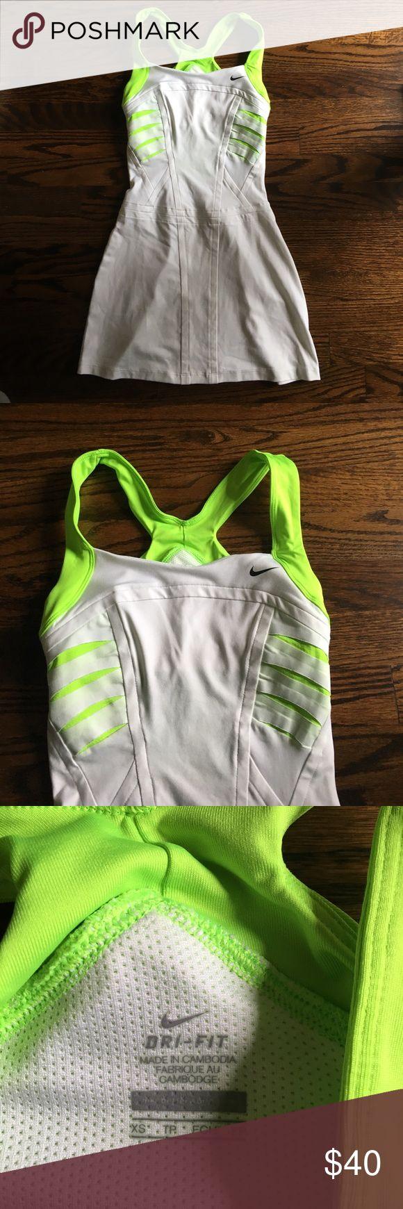 Nike Maria Sharapova Dress White and neon green tennis dress (worn once) Nike Dresses
