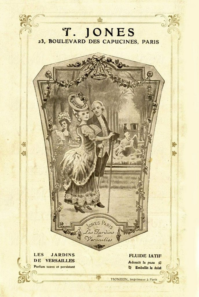 From France in 1908 an advertisement from T. Jones for sweet and persistent fragrances