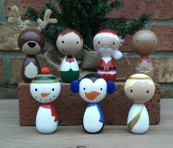 Trim the tree with these festive peg doll ornaments! Select from:    Santa  Reindeer  Elf  Snowman  Penguin  Gingerbread Man  Angel    Pegs measure: