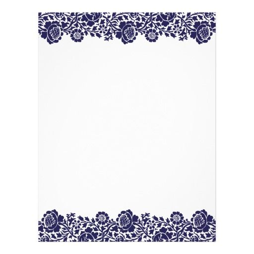 Chevron Letterhead Template Black and White Damask Border Template - Navy Blue Retro Floral Damask Border Letterhead Zazzle