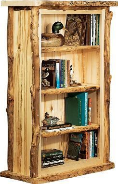 A bookshelf built with branches as trim, giving it a very rustic look: Cabela's Aspen 3-Shelf Bookcase