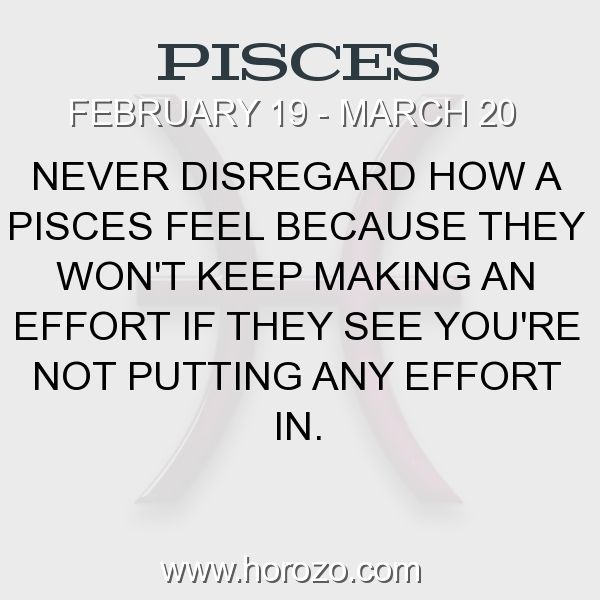 Fact about Pisces: Never disregard how a Pisces feel because they won't... #pisces, #piscesfact, #zodiac. More info here: https://www.horozo.com/blog/never-disregard-how-a-pisces-feel-because-they-wont/ Astrology dating site: https://www.horozo.com