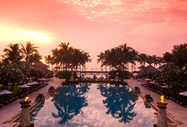 The resort's main pool at sunrise