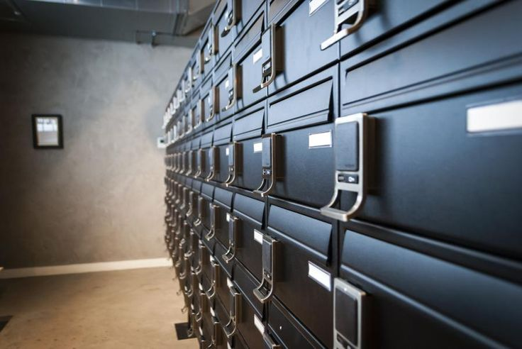 Bank of electronic mailboxes for the Spitalfields Student Accommodation in London.