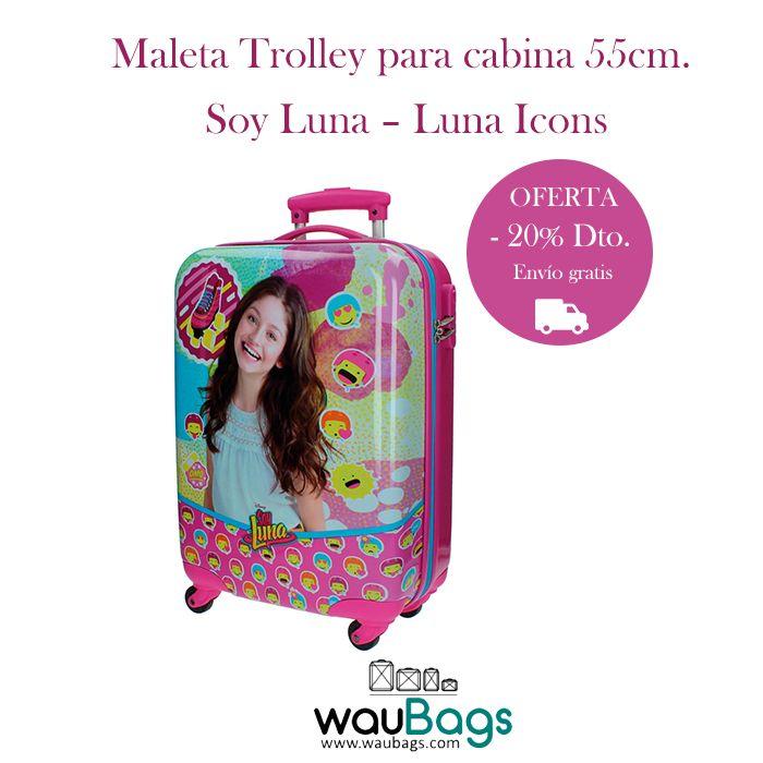 """Consigue en waubags.com la Maleta Trolley de la colección """"Luna Icons"""" de Soy Luna apta para cabina, por tan solo 88€ con gastos de envío gratis!!  @waubags#disney #luna #soyluna #maleta #trolley #cabina #niña #juvenil #viaje #oferta #descuento"""