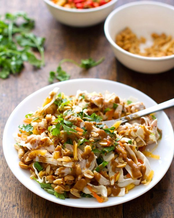 This simple chopped Thai chicken salad has incredible flavors - peanut, lime, soy, chili, cilantro. Topped with a homemade dressing. Healthy and fresh.
