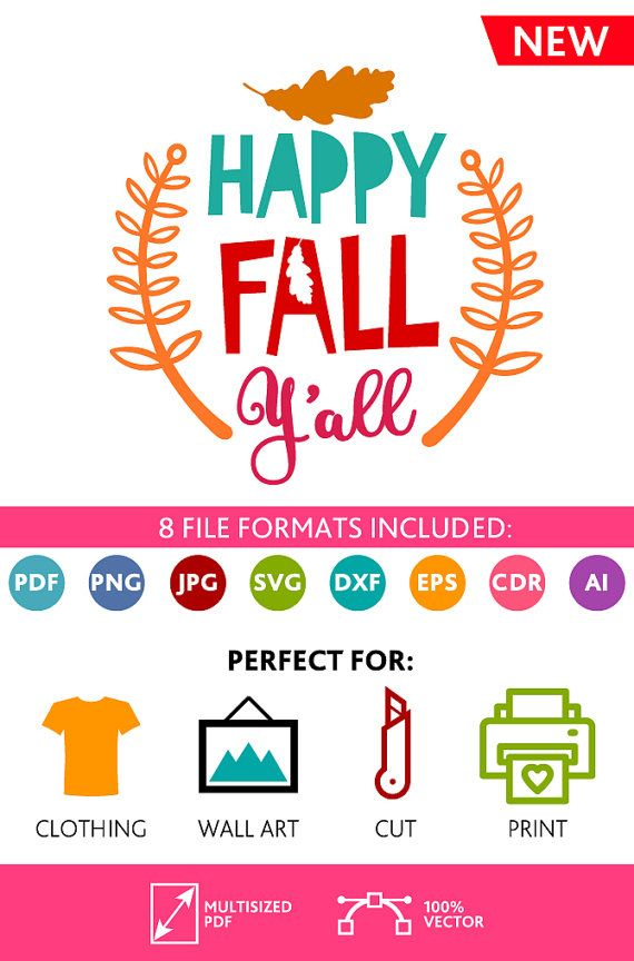 Happy Fall Y'all SVG Cut Files Yall Wall Art Quote Printable Art Decor room Art Printable Poster digital (Svg Dxf Cdr Eps Ai Jpg Pdf Png)