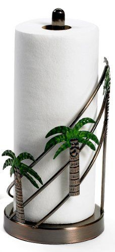 Florida Marketplace Palm Tree Paper Towel Holder by Florida Marketplace. $14.99. Imported. Florida Marketplace adds a touch of the tropics to your table settingwith the palm tree paper towel holder. This paper towel holder features a metal construction with decorative palm trees and measures 6'' x 6'' x 13''.