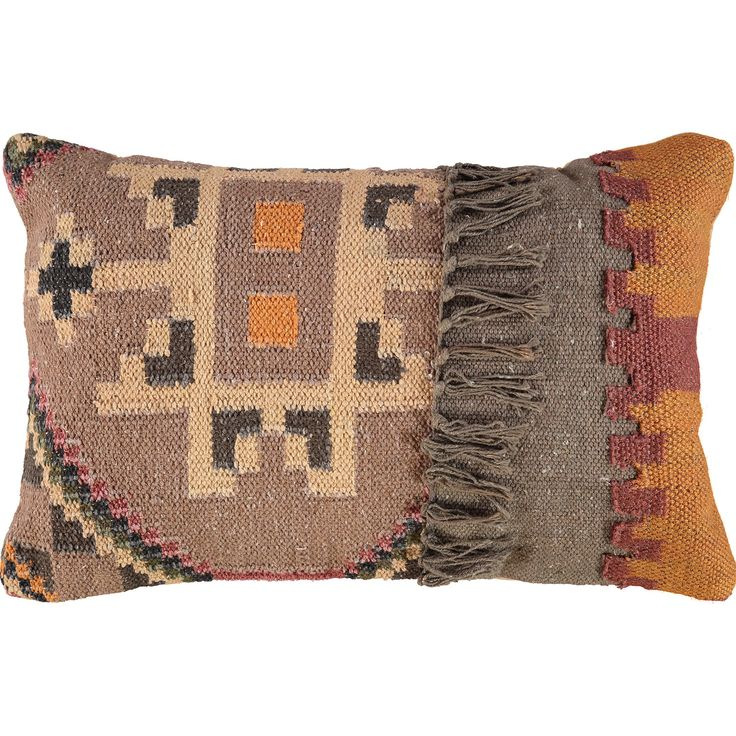 Brown & Orange Patchwork Cushion 35x55cm - TK Maxx