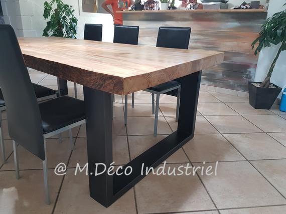 Meuble Industriel Table De Salle A Manger En Pin Massif De 8 Cm