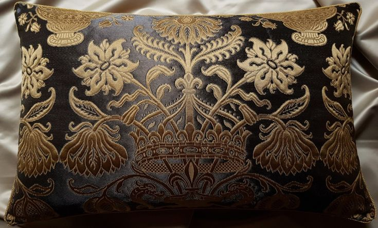 Lumbar Throw Pillow Cushion Cover Silk Brocatelle Rubelli Fabric Ebony and Gold Castiglione Pattern - Handmade in Italy by OggettiVeneziani on Etsy