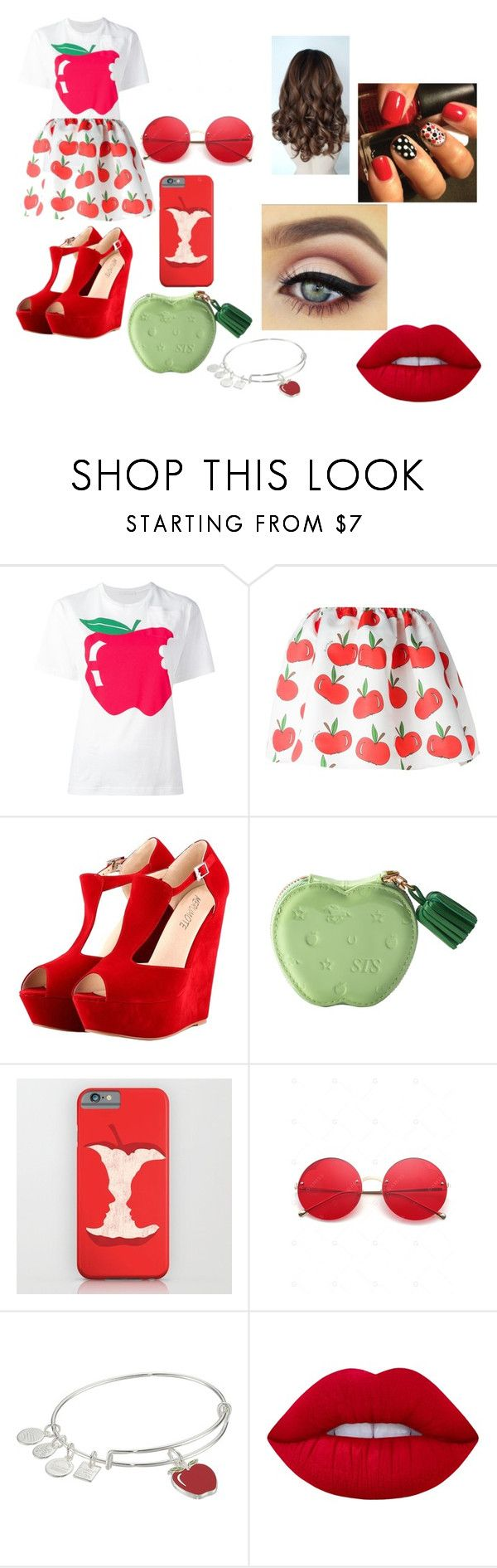 """Apple"" by lauren-paul-sets ❤ liked on Polyvore featuring Peter Jensen, Au Jour Le Jour, Alex and Ani and Lime Crime"