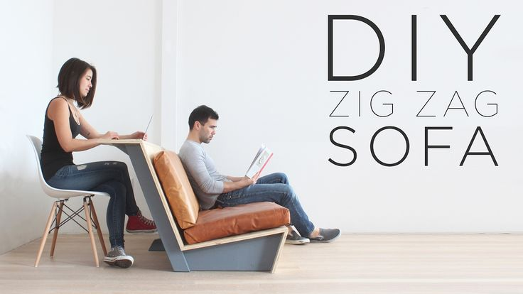 """DIY """"Zig Zag"""" Sofa   How to make a modern couch"""