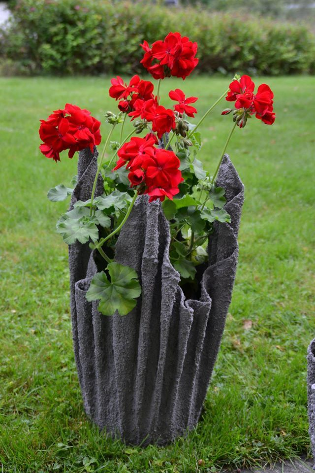 Flower Pot Made From An Old Towel Soaked In A Thin