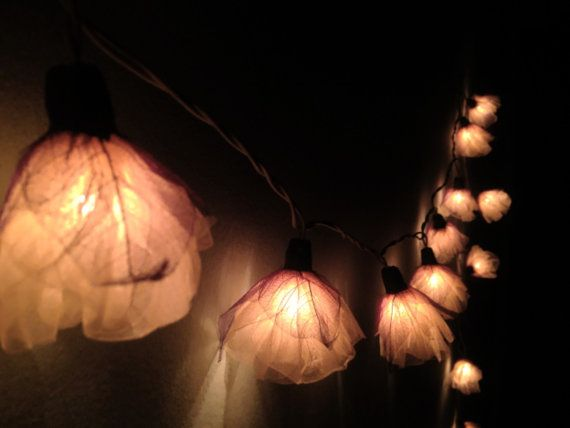 Fairy String Lights   20 White Carnation Flower String Lights Wedding Party  Home Decoration,Indoor