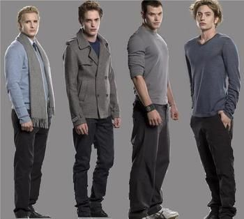 "The Cullen Men <3 | Ever notice the ""colors""  of each movie? Twilight = Gray"