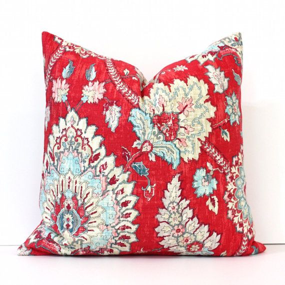 Brand new pillow cover in a bright & vibrant floral print.  The fabric features strawberry red, ivory, robins egg blue / aqua, pink, gray, light