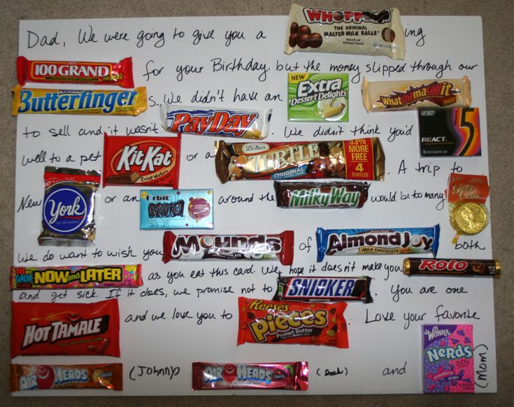 Dad's Candy Card - It was hit. We changed some of the wording to apply for our bday boy and include some of his favorite candies.