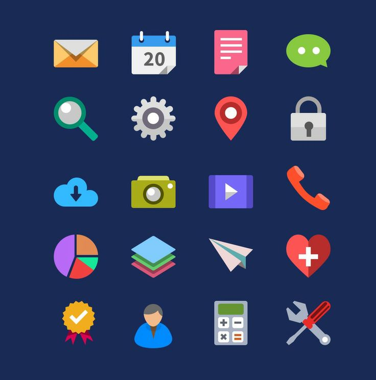 20 Flat Icons - Icons - Fribly