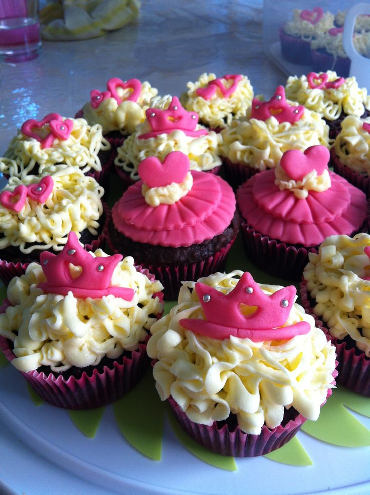Princess dress and tiara cupcakes
