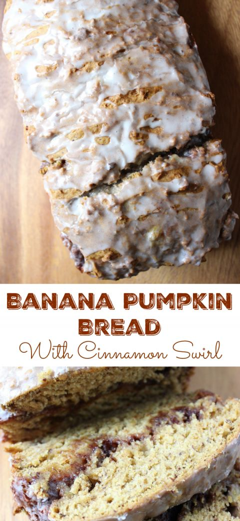Banana Pumpkin Bread swirled with cinnamon and sugar and topped with a sweet glaze is perfect anytime | Everyday Made Fresh via OHMY-CREATIVE.COM