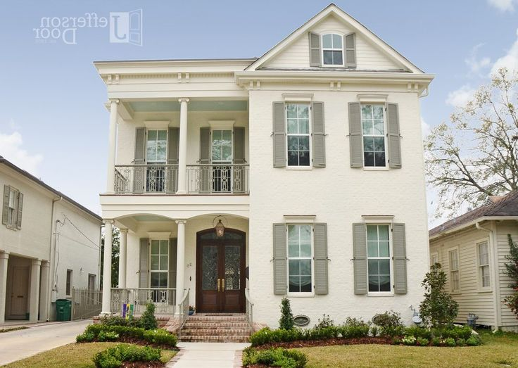 Taupe Shutters Exterior Traditional With Transitional