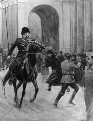The Unhappy History that Led to the Russian Revolution: Demonstrators scatter in fear as a cavalryman uses his whip to clear the streets of Petrograd during the Revolution of 1905.
