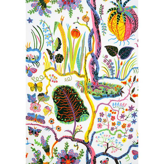 Josef Frank Designer Linen Fabric Hawaii in White or by fabeco, 209.00