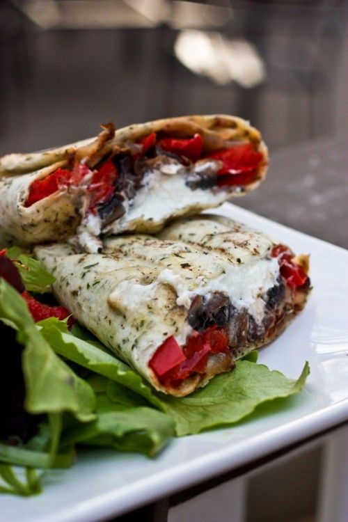 Grilled Portobello Mushroom, Roasted Red Bell Pepper  Goat Cheese WrapGrilled Portobello, Belle Peppers, Cheese Wraps, Portobello Mushrooms, Peppers Goats, Goats Cheese, Roasted Red Peppers, Goat Cheese, Chees Wraps