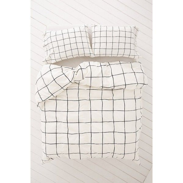 Wonky Grid Duvet Cover ($129) ❤ liked on Polyvore featuring home, bed & bath, bedding, duvet covers, king size duvet insert, king duvet insert, modern bedding, king bedding and black and white cotton bedding