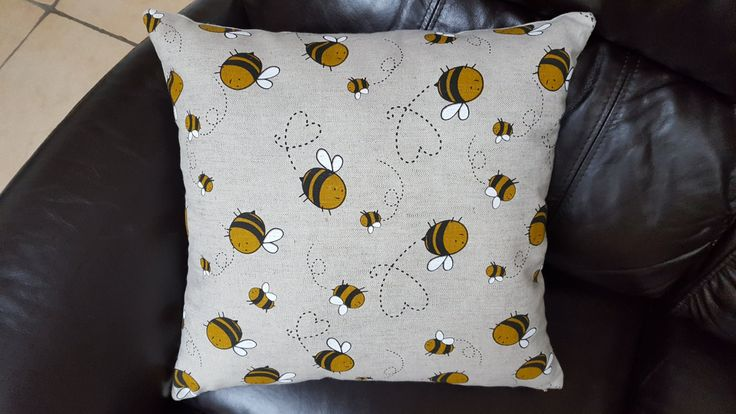 Handmade Decorative Happy Bees Cushion Cover by CozyHomeOlly on Etsy