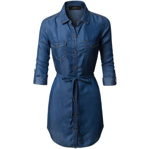 LE3NO Womens Loose Fit Long Sleeve Tencel Denim Shirt Dress with Belt ($30) ❤ liked on Polyvore featuring dresses, loose dress, blue long sleeve dress, long sleeve dress, t-shirt dresses and blue dress