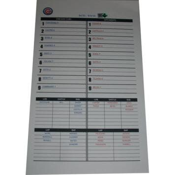 Mets at Cubs 9-04-2010 Replica Lineup Card (MLB Auth). A Lineup card is truly one of the most unique items one can get from a game as there is never more than one and they are usually written on by the manager and coaching staff. A Cubs-Steiner Letter of Authenticity is included as well as an MLB Hologram of authenticity. This is a REPLICA typed out game issued lineup card that was produced by the Chicago Cubs on the above listed date. The lineup card is used by managers to track...